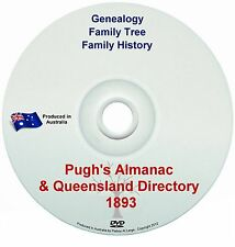Family History Genealogy Pughs Almanac Queensland Directory 1893 Names Towns QLD