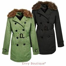 LADIES WOMENS DOUBLE BREASTED BELTED TRENCH JACKET FUR COLLAR MAC PADDED COAT