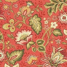 1 3/8 Yards Mill Creek TERRACOTTA Gold Green Floral Cotton Drapery Sewing Fabric