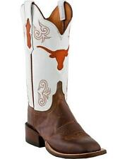 Lucchese CC2503 W8 Womens Tan Madras Goat Leather Texas Longhorns Cowboy Boots