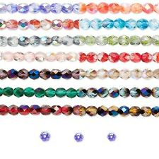 30 Two Tone Czech Glass Round Fire Polished Beads With AB Finish Small - Big
