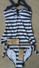 EX FAT FACE NAVY MIX NAUTICAL STRIPE NON-WIRED PADDED HALTERNECK TANKINI SZ 8-18