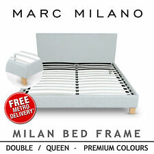 Luxury Double/Queen Size White/Black PU Leather Bed Frame Slat Base Steel Beam