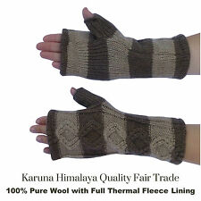 Womens 100% Pure Wool Gloves. Fingerless Gloves.Hand Warmers.Polar Fleece Lined.