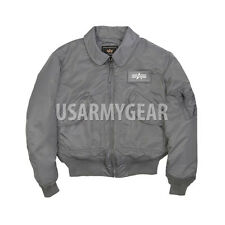 US MADE CWU-45P Alpha Industries US Army Flight Military Bomber Jacket Gunmetal