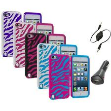 Zebra Hybrid Hard Soft Case Cover+Aux+Charger for iPod Touch 5th Gen 5G