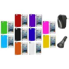 Ultra Thin Color Hard Rubberized Case Cover+2X Chargers for iPod Touch 5th Gen