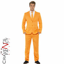 Tango Orange Stand Out Suits Mens Stag Do Party Fancy Dress Costume Outfit New