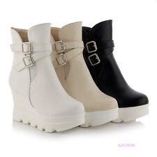 Womens Girls Mid Calf Zip Buckle Platform Boots High Heels Shoes AU Size Y1461
