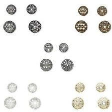 Lot of 20 Fancy Cut Out Filigree Round Spacer Beads Plated Over Brass Metal