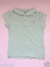 Next Baby Girls Mint Spotted White Short Sleeve Polo Top Size 3-6mths