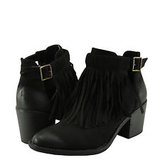 Women's Shoes Qupid Tobin-10 Cut Out Fringed Chunky Heel Bootie Black SU  *New*