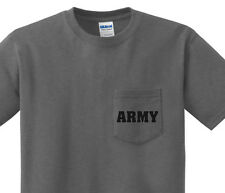 Pocket t-shirt men's United States Army pocket tee mens dark gray shirt us army