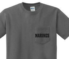 Pocket t-shirt men's US Marines usmc pocket tee for men dark gray shirt