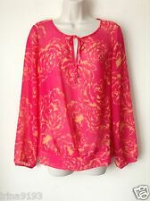 Next Women`s Ladies Pink Floral Long Sleeve Top Blouse Size 10
