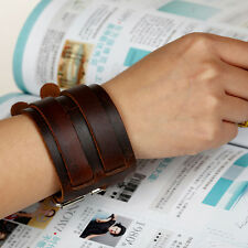 Retro Punk Unisex Wide Genuine Leather Bracelet Double-Band Wristband Bangle BL