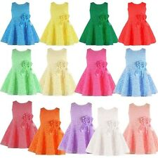 13 Colors Toddler Girl Princess Baby Wedding Dress Party Lace Flower Tulle Dress