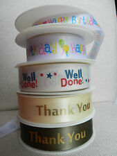 2 metres BN MESSAGES ribbon - Thankyou, Well Done!, Happy Birthday