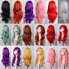 UK Thick Long Layer Full Wig Cosplay Party Daily Dres Orange Purple Pink Red U98