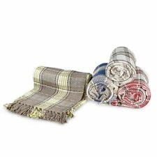 Large 100% Cotton Highland Tartan Check Sofa / Bed Throw 4 Colours & 5 Sizes