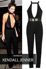 New Womens Ladies Deep Plunge Neck Sexy Bodycon Jumpsuit Size 8-14