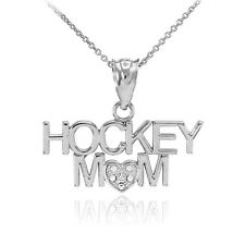 White Gold HOCKEY MOM Heart Diamond Pendant Necklace