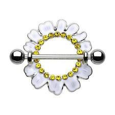 Adorable White Daisy Yellow CZ Nipple Shield Ring with Silver Barbell ( 14 g )