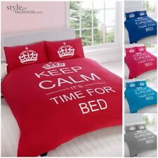 KEEP CALM Time for Bed Reversible Bedding Duvet Quilt Cover Set with Pillowcases