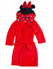 Girls Disney Minnie Mouse Hooded Fleece Dressing Gown Red Robe 2-3 3-4 Years NEW