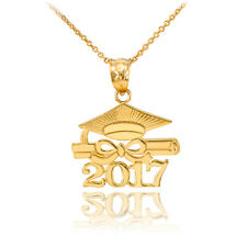 "14k Solid Gold ""CLASS OF 2017"" Graduation Hat Diploma Pendant Necklace"