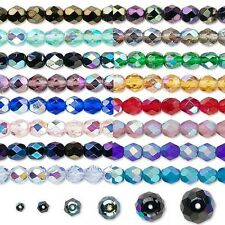 Lot of 30 Czech Fire Polish Round Glass Beads W/ AB Finish in Sizes Small - Big