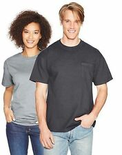 2-Hanes Beefy-T Adult POCKET T-Shirts ASSORTED COLORS Sizes S - 3XL-LotA1