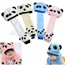 Unisex Children Panda Warm Cap Beanie Scarf Set Toddler Girl Boys Girls Baby Hat