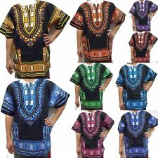 Women Traditional African Print Dashiki Dress Short Sleeve Party Black Shirt