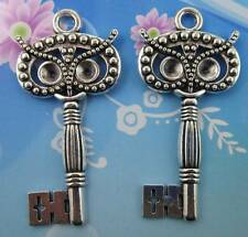 wholesale 3/9pcs 60x29mm Retro style lovely owl key alloy charms pendant