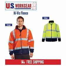 Hi Vis Soft Fleece Work Safety Reflective ANSI Class 3 Zip Jacket Portwest UF301