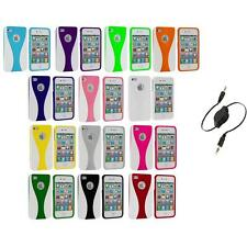 Color White 3-Piece Hard Rubberized Case Cover+Aux Cable for iPhone 4 4S 4G