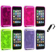 Butterfly Flower TPU Rubber Case Cover+Stylus Plug for iPod Touch 4th Gen 4G 4