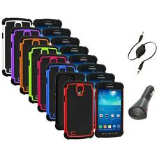 For Samsung Galaxy S4 Active Hybrid Hard Shockproof Rugged Case+Aux+Charger