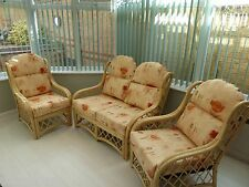 Country Cane Conservatory Furniture 3 Piece Set Sofa & 2 Chairs 4 Seater Natural