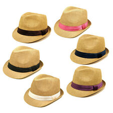 Classic Tan Fedora Straw Hat - Different Color Band Available