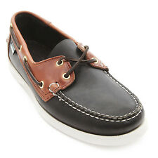 Sebago Men Shoes Docksides Spinnaker B72871 Black/Brown Wide Boat Leather Shoes
