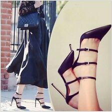Women Sexy Patent Leather Slingback Pointed Toe Stilletto High Heel Sandal Shoes