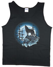 Men's tank top lone wolf howling at the moon wolves nature wildlife t-shirt tee