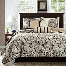 BEAUTIFUL BLACK GOLD PAISLEY QUILTED BEDSPREAD COVERLET 6 PCS CAL KING QUEEN SET