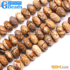 """6x10mm Natural Picture Jasper Faceted Rondelle Beads For Jewelry Making 15"""" GB"""