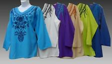 Hippie Bohemian Indian Gypsy Festival Embroidered Peasant Blouse Kurta 6 Colors