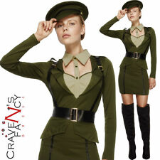 Ladies Army WW2 Sexy Captain Costume Wartime Officer Fancy Dress Outfit New