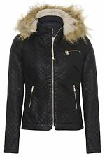 NEW WOMENS GIRLS DIES PU HOODED FAUX FUR FLEECE PVC LEATHER ZIP JACKET