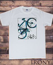 Mens White T-shirt Graphical Bicycle Sporty Novelty Print